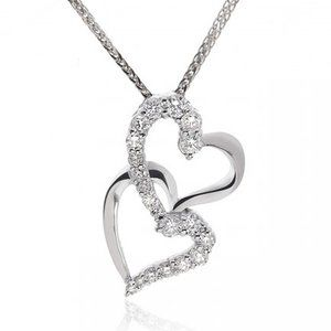 0.75 Carat Diamond Heart Duet Pendant on Chain